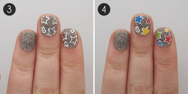 Patterned Glitter Nails