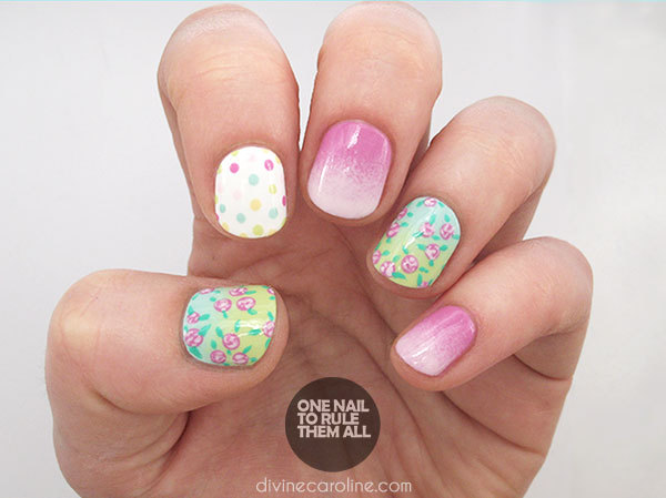 Rainbow Ombre Floral Nails