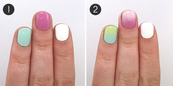 Rainbow Ombre Nail Tutorial Steps 1-2