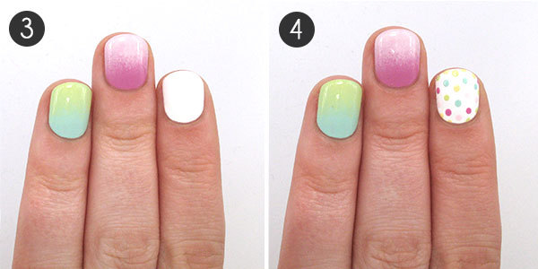 Rainbow Ombre Nail Tutorial Steps 3-4