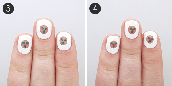 Negative Space Holly Christmas Nails