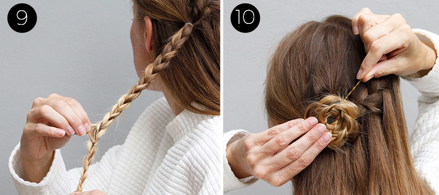 Waterfall and Flower Braid Half Updo Steps 9 & 10
