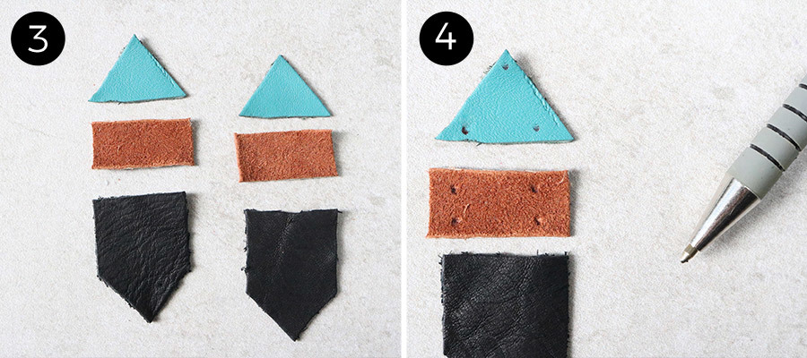 Stacked Leather Earrings Steps 3 & 4