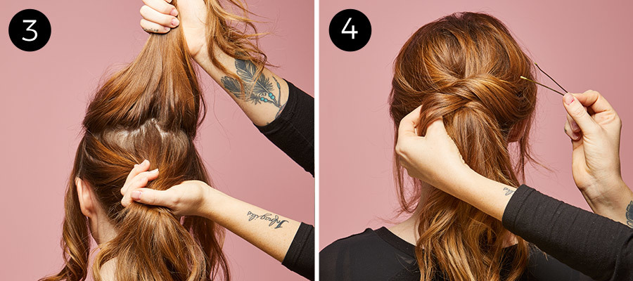 2nd-Day Hair Ponytail Steps 3 & 4