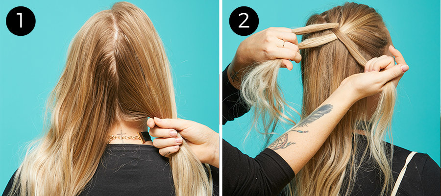 Braided Pigtails Steps 1 & 2