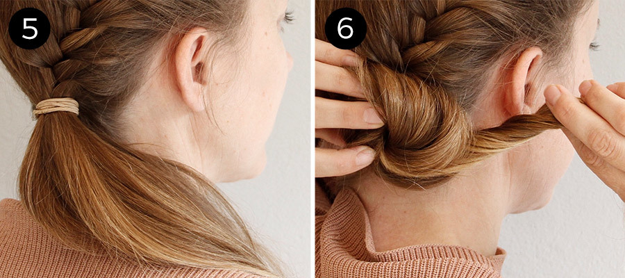 French Fishtail Bun: Steps 5-6