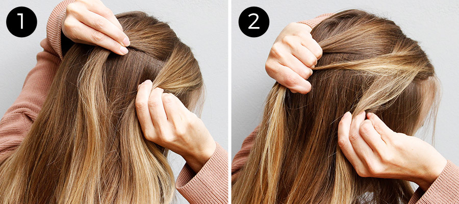 French Fishtail Bun: Steps 1-2