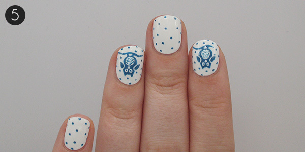 Spotted Owl Nail Art: Step 5