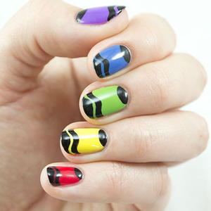 Colorful Crayon Nail Art Tutorial