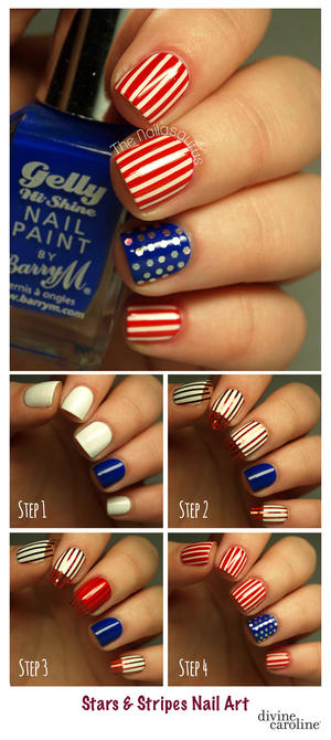4th of July Nails: Stars and Stripes Nail Art