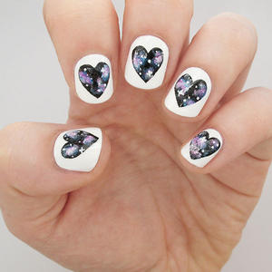 Galaxy Heart Nails Tutorial