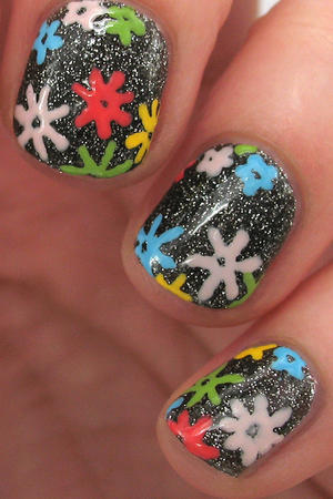 Translating Trends: Floral Glitter Nail Art