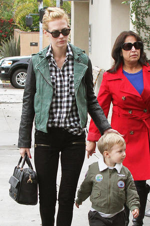 Get the Look: January Jones' Military-Inspired Leather Jacket
