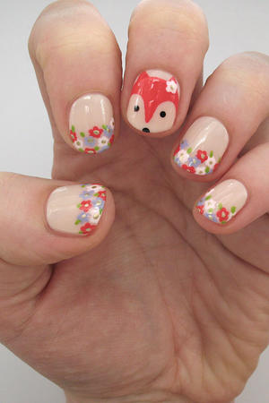 Fantastic Floral Fox Nail Design