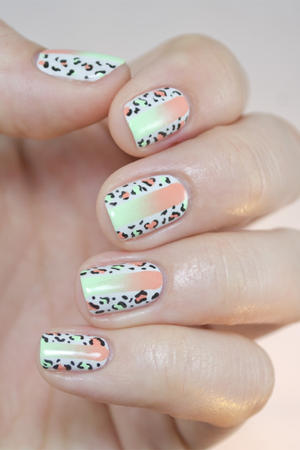 Summer Fun Neon and Leopard Print Nail Art Combo