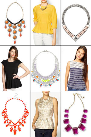 Killer Combo: 9 Chic Peplum Top & Statement Necklace Pairings