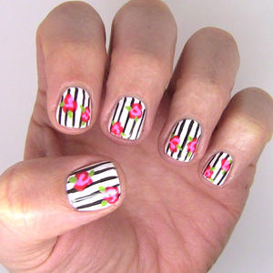 In Bloom: Floral-and-Stripes Nail Art