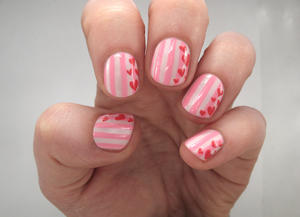 Try This Simple Striped Valentine's Day Nail Art