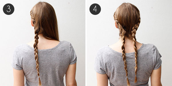 Braided Updo with Lovely Lace Braids Steps 3-4
