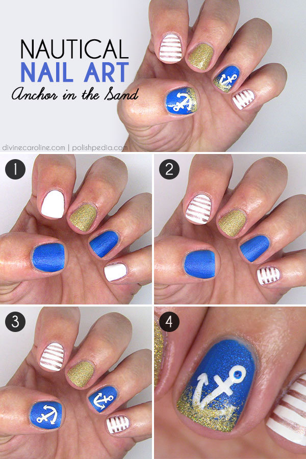 Step-by-Step Anchor Nail Art - Summer Nails: Anchor-in-the-Sand Nail Design More.com