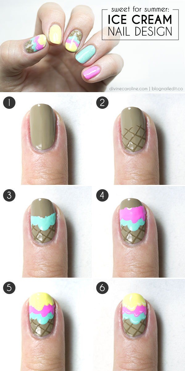 Ice Cream Nail Design Step By