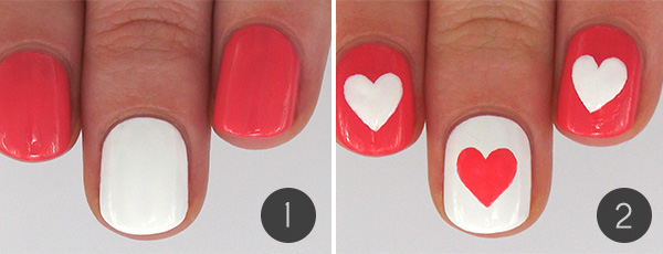 Hearts And Flowers Valentines Day Nail Art