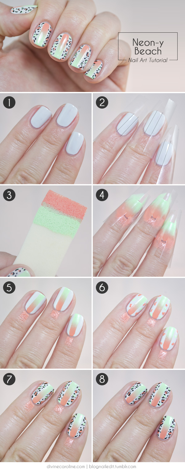 Summer Fun Neon and Leopard Print Nail Art Combo | more.com