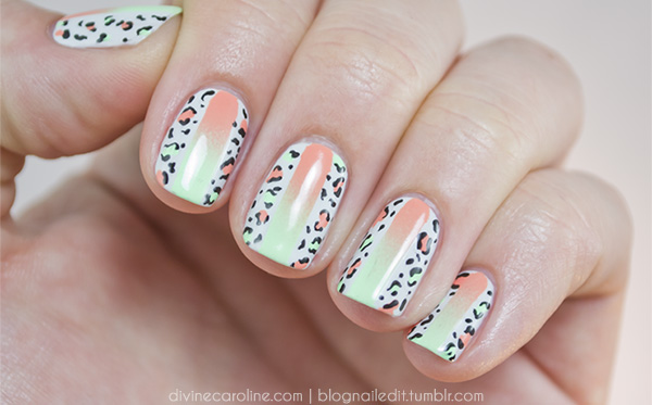 First, gather your supplies. You'll need a cream white base (OPI's My  Boyfriend Scales Walls), two complementary neon colors (try China Glaze's  Peachy Keen ... - Summer Fun Neon And Leopard Print Nail Art Combo More.com