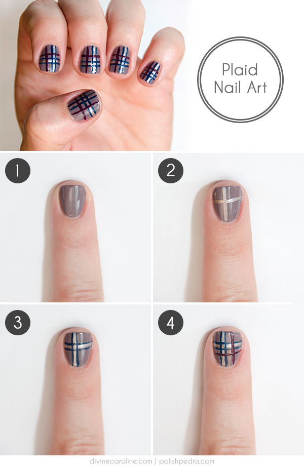 Easy plaid nail art how to more clean your nails and shape them to the desired look apply a clear base coat prinsesfo Choice Image