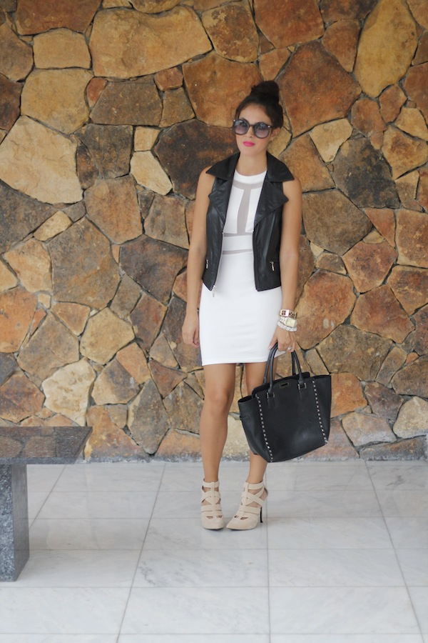 a2bead1bdaa0 The edgy mix of my white dress and black moto vest is balanced and softened  by nude-color heels. My heels can be found here!