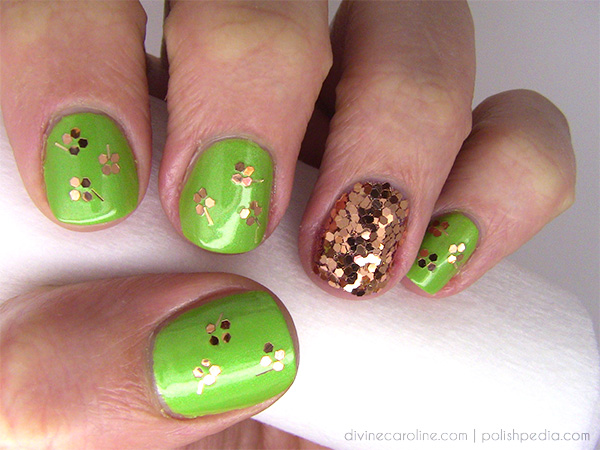 ... aligning each shamrock leaf and stem together. As long as you can see  individual pieces of glitter, you will be able to do this on your own nails! - Lucky You: Shamrock-Inspired Nail Art For St. Patrick's Day More.com