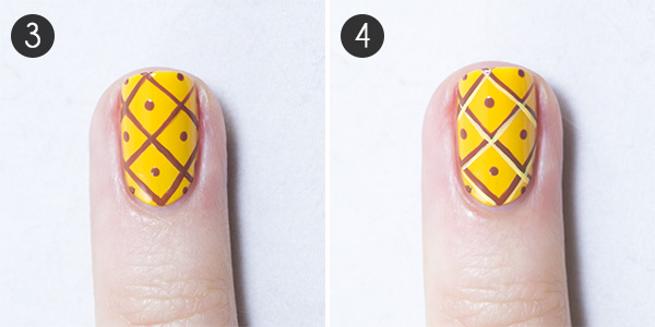 3. Add little dots in the center of each diamond. 4. Now mix 1 drop of  yellow polish with 1 drop of white polish on a piece of paper, and paint  lines near ... - Summer Nails! Pineapple Party Nail Art More.com