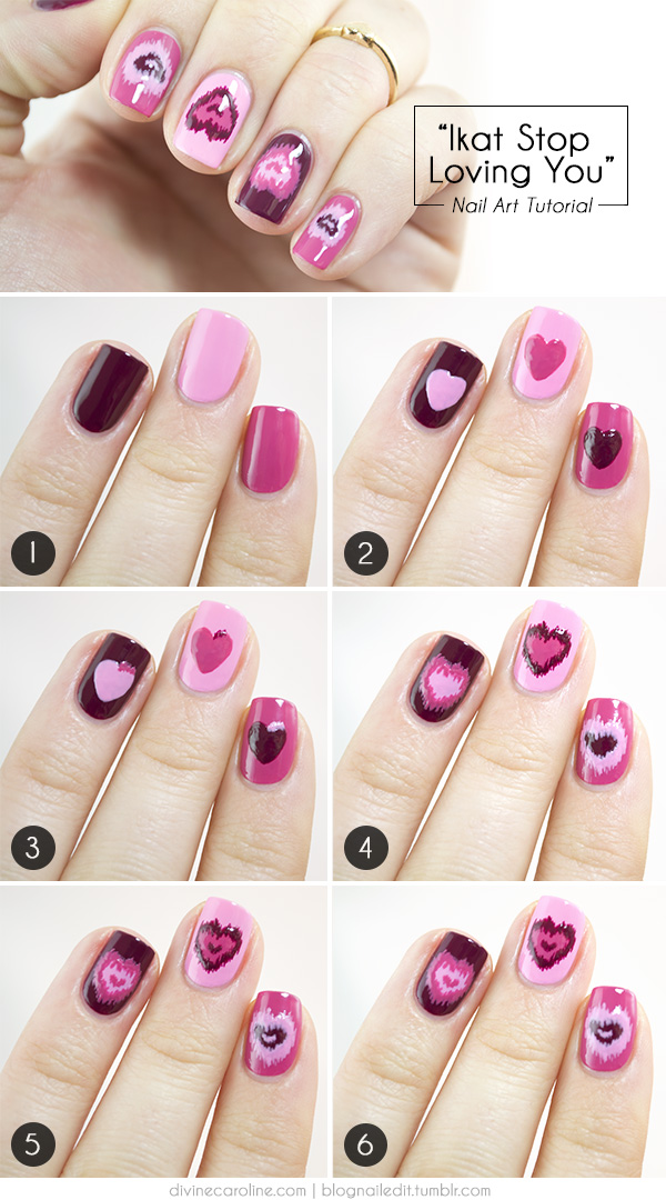 Ikat Stop Loving You: Valentine\'s Day Nail Art | more.com