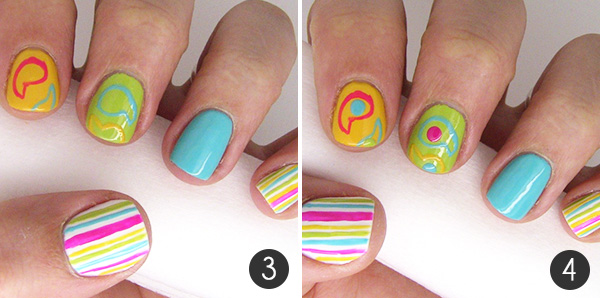 Pretty paisley nail art tutorial more take your thin nail art brush and paint the outline of an angled tear drop on your pointer and middle finger with what space is left on the tip of your prinsesfo Choice Image