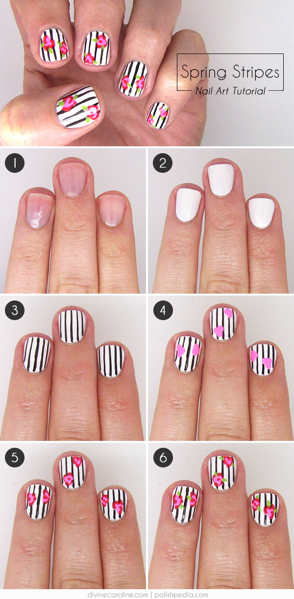 In Bloom: Floral-and-Stripes Nail Art | more.com