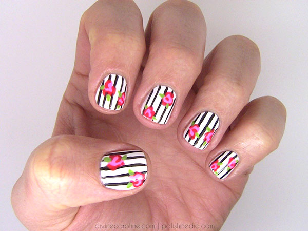In Bloom Floral And Stripes Nail Art More