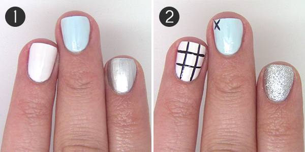Nail art design game night meets mani with tic tac toe apply china glaze base coat to prep the nails for the design apply two coats of the following base colors china glaze white on white on your ring finger prinsesfo Choice Image