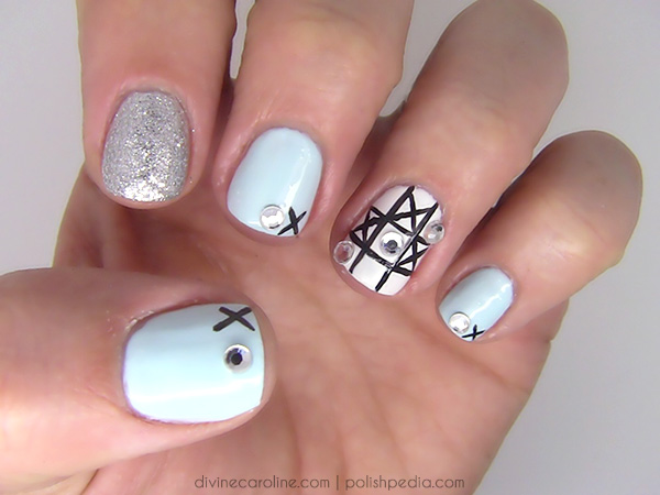 Nail Art Design: Game Night Meets Mani with Tic-Tac-Toe Inspiration - Nail Art Design: Game Night Meets Mani With Tic-Tac-Toe Inspiration