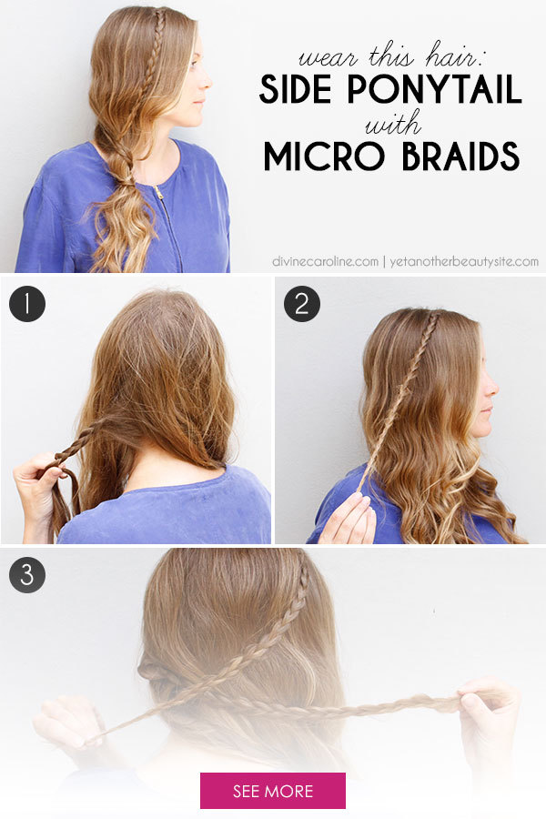 Wear This Hair Side Ponytail with Micro Braids , More